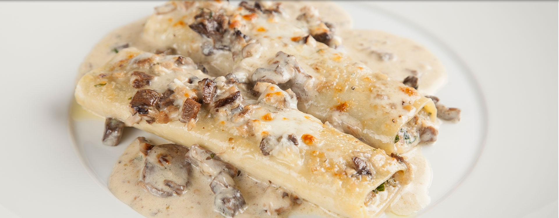 Meat Cannelloni with Wild Mushroom Crème