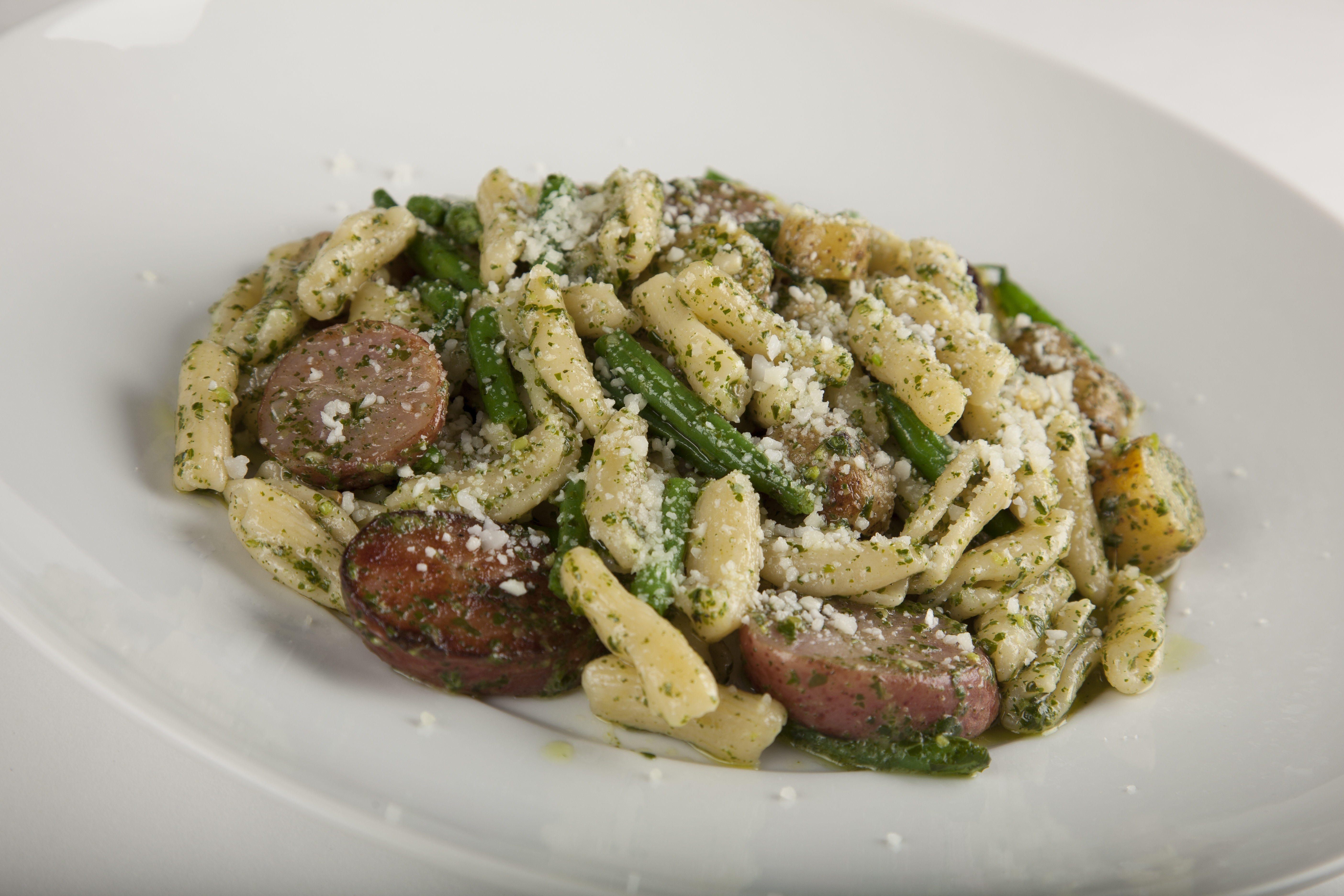 Cavatelli with Haricots Verts, Potatoes, and Basil Pesto